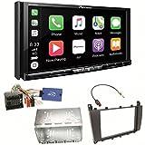 Pioneer AVH-Z9100DAB CarPlay Android Auto Digitalradio USB CD DVD Autoradio Touchscreen Moniceiver Navi Einbauset für Mercedes C-Klasse W203 CLC CL203 S203