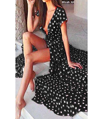 1950er Vintage Polka Dots Pinup Retro Rockabilly Kleid ,ZEZKT Cocktailkleider V-Ausschnitt Ärmellos Lang Abendkleid Schwarz