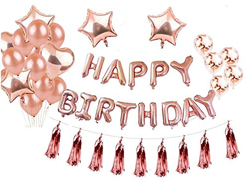 Nicepet Geburtstagsdeko, Geburtstagsdeko MäDchen, Geburtstagsdeko Jungen, Happy Birthday Girlanden (Rose Gold)