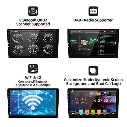 101-Zoll-257-cm-Android-90-Doppel-Din-Autoradio-Universal-Audio-Rckfahrkamera-untersttzt-Navigationsgert-Bluetooth-GPS-DAB-WiFi-OBD2-4G-Lenkrad-1080P-Videospiegel-Carplay-USB