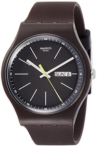 Swatch Herren Analog Quarz Uhr mit Silikon Armband SUOC704