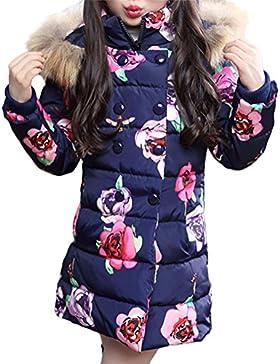 SMITHROAD Winterjacke Mädchen Winter Mantel verdickte mit Kapuzen Rose Stehkragen Trenchcoat Outerwear Oberbekleidung...