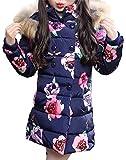 SMITHROAD Winterjacke Mädchen Winter Mantel verdickte mit Kapuzen Rose Stehkragen Trenchcoat Outerwear Oberbekleidung Steppjacke Blumenmuster Aufdruck warm Winddicht,Blau Gr.140-146