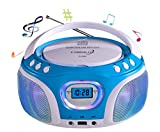 CD-Player mit LED-Beleuchtung | Tragbares Stereo Radio | Kinder Radio | Stereo Radio | Stereoanlage | USB | CD/MP3 Player | Radio | Kopfhöreranschluss | Aux in | LCD-Display | (Blau mit LED)