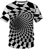 EUDOLAH Herren T-Shirts 3D Druck Bunt Galaxy Sport Rundhals Print Schmale Passform Motiv Tops Schwarz und weiß Karo XL