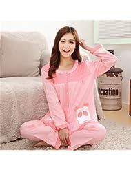 &zhou pijamas mujer ocio cardigan suelto mantenga invierno cálido pijamas gruesos conjuntos de ropa hogar , shrimp , l