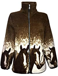 Women's Double Fleece Horse Print Animal Print Jacket with Pockets S-XXL