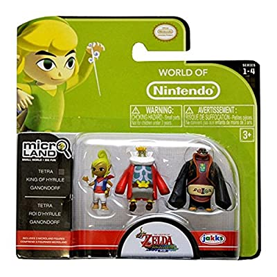 World of Nintendo Micro Land Tetra, King of Hyrule, Ganondorf 3-Pack Figurines