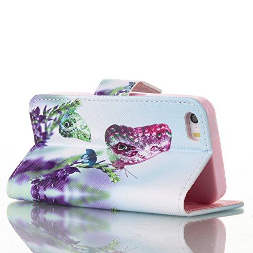 für iphone 5 5S SE Hülle Schwarz ,SKYXD Bunte Blumen Muster PU Leder Folio Klappbar Schutzhülle [Magnetverschluss / Brieftasche Kartenfach / Standfunktion] Klapphülle mit [Kaiserkrone Handyanhänger +  Color-11