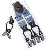 Robusto Uomini Braces KANGDAI 6 Fibbie Y Indietro 10 colori Suspendenti regolabili elastici durevoli Forti clip metalliche (Blu scuro)