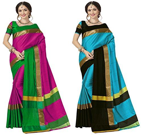 Art Décor Sarees Women\'s Pack of 2 Sarees Cotton Silk Pink & Sky Blue Saree With Blouse (Pack of Two Sari)