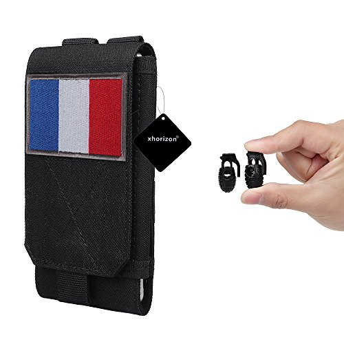 xhorizon TM MSH Armée Camo Sac Mobile Crochet de téléphone portable Organiseur accessoires Housse Etui Coque Cover Case Sacoche de ceinture avec drapeau français