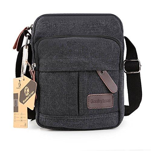 Koolertron Männer Retro Kleine Leinwand-Cross Body Handtasche 17.5x21x10 cm (grau) schwarz - groß