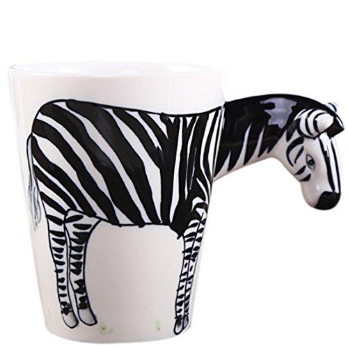 Teckpeak 3D Animal Shape Coffee Milk Tea Mug Ceramic Water Cup Festival Birthday Gift - Zebra