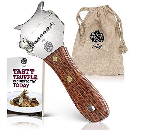 5 grömaße Trüffelhobel & Schokolade Rasierer mit Chic Stoff Tasche + Rezept E-Book. Trim die Heute Trüffel. Auch Rasuren Käse, Knoblauch, Pilzen & Gemüse. Premium Edelstahl & Verstellbarer Klinge (Trüffel Rezepte Schokolade)