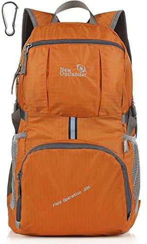 35 L! Outlander, grande zaino pieghevole e maneggevole, leggero, da viaggio o arrampicata, zaino per un giorno, Orange