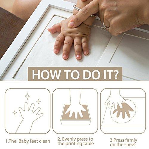 BraceTek   Kit de Marco Para Manos y Huellas de bebé para niño y niña   marcos de arcilla y madera   No se agrieta al secar