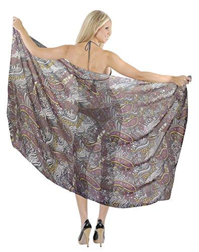 La Leela puro chiffon leggero fresco sarong floreale coprire costumi da bagno delle donne Viola