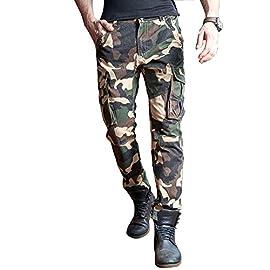Biker Mimetico Military Moda Uomo Skinny Fit Army Tubo Jeans Cargo Pantalone