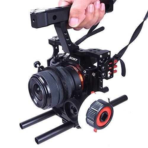Commilte CS-S5 Film filmati fotocamera Video gabbia manico Grip Follow Focus per Sony A9 A7/A7II/A7s/A7r/A7Rii, Parasonic GH5 GH4 GH3 (CS CS-F0-V5) (versione aggiornata)