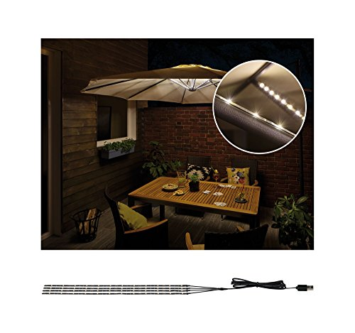 Paulmann 942.08 Outdoor Mobile Parasol-lighting IP44 3000K 4x0,4m Sonnenschirmleuchte Dekoleuchte Lichtbänder LED Stripes 94208