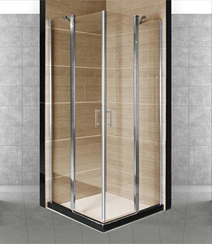 Box cabina doccia con 2 porte a battente in cristallo trasparente mm. 5 New Indira (Porta In Acciaio Inox Battenti)