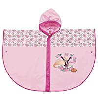 PERLETTI Regal Academy Official Waterproof Cape for Children - Pink Rainproof Poncho with Fuchsia and White Flower with Hood and Buttons for Girls - 2 Size