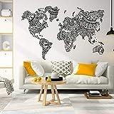 Neue Weltkarte Mandala Sticker Weltkarte Wandaufkleber, Böhmische Wanddekoration, Dekorative Weltkarte Wand 42x27CM