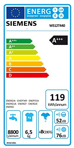 Siemens WS12T440 iQ500 Waschmaschine FL / A+++ / 119 kWh/Jahr / 1175 UpM / 6,5 kg / 8800 l/Jahr / VarioSoft Trommelsystem /WaterPerfect / weiß - 2