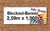 Premium Banner 900g/m² | Werbebanner / Werbeplane | 2,5m x 1m | blickdicht | inklusive Ösen | brillanter Druck - besonders stabil - wetterfest | einseitig mit Ihrem Motiv bedruckt
