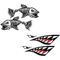 MagiDeal 4 Pcs de Pegatinas de Dientes Boca de Tiburón + Esqueleto de Pescados Accesorios Deportivo Acuático