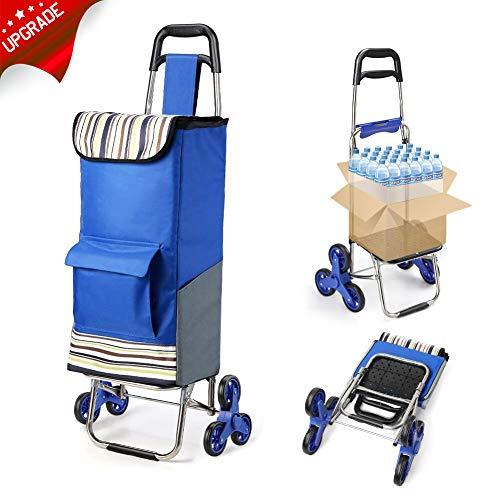 ROYI Faltbare Einkaufstrolley Treppen Klettern Shipping Trolley mit Noiseless Gummi Tri-Wheels, Größerer Stauraum, Trolley-Größe 45 cm x 102 cm x 36 cm, Einkaufswagen Treppensteiger