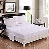 NON IRON Luxury Parcale Plain Dyed Duvet Cover & 2 Pillow Cases Bed Set (White, King)