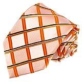 Lorenzo Cana - Designer Marken Krawatte aus 100% Seide - Kariert Apricot Silber Orange Karos - 84548