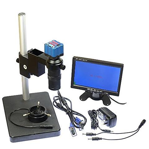 17,8cm LCD-Monitor Mikroskop HD 2.0MP VGA Industrie Mikroskop Kamera & 100x C Mount Objektiv & 40LED Ring Light & Ständer Halter