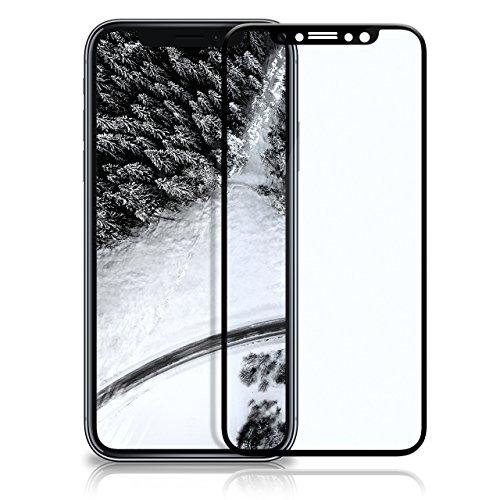 OneFlow 3D Panzerfolie für iPhone X Panzerglas Full Screen Glasfolie [Tempered Glass Curved] Protector Glas Displayschutz-Folie für iPhone X Schutzfolie, Schwarz