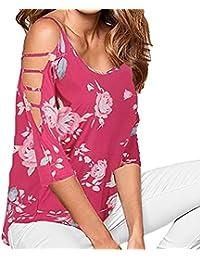 CICIYONER Camiseta Hombros Verano Blusa con Estampado Floral y Hombros ahuecados Sueltos