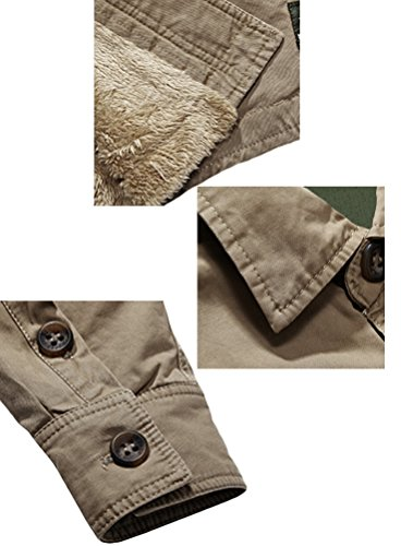 MatchLife Homme 2016 Nouvelle Fleece Lined Shirt Kaki