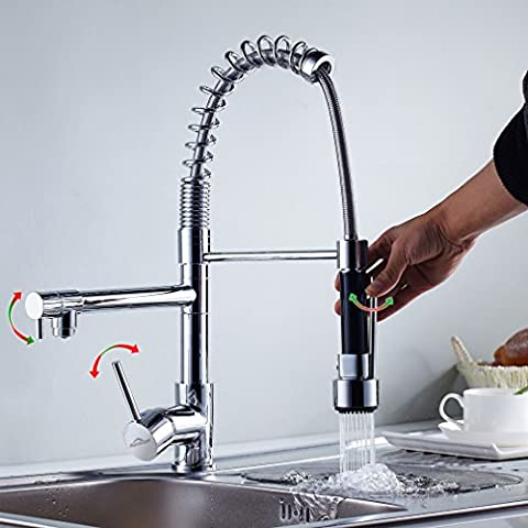 Auralum® Monomando Grifo de cocina Agua Fría Y Caliente Grifo de Cocina Extraible 360°rotación 3 Años de Garantía cartucho de