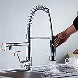 Auralum® Monomando Grifo de Cocina Agua Fría Y Caliente Grifos para fregadero Extraible 360°rotación 3 Años Garantía cartucho cerámica