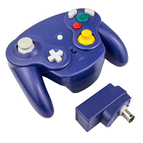 Exlene® Contrôleur sans fil Gamepad pour Nintendo Gamecube (bleu), compatible avec Wii