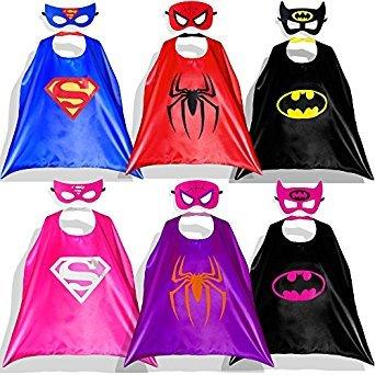 happium–Superhero Kostüme für Kinder–6Cape, 6Masken Geburtstage (Ideen Marvel Comic Kostüme)