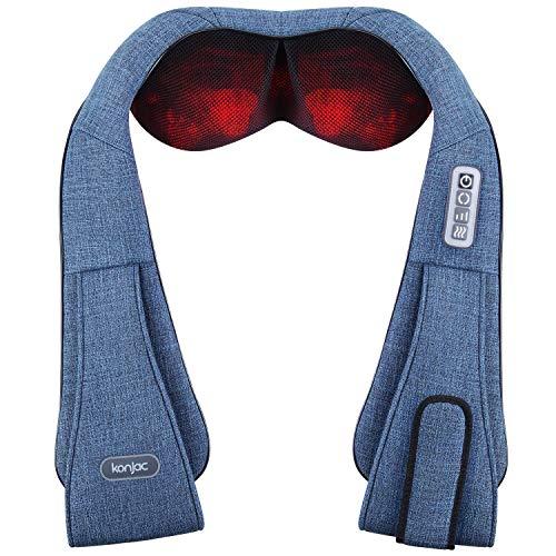 Konjac Elektrisch Massagegerät mit Infrarot Wärmefunktion 3D Rotation Shiatsu Nackenmassagegerät für Massage auf Nacken Schulter Rücken für Müdigkeit Lindern Schmerzverlinderung