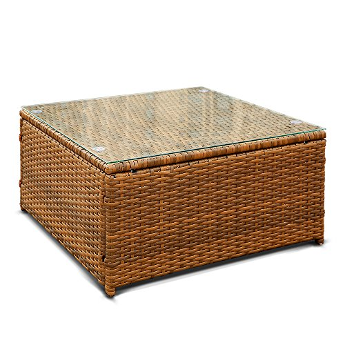 It is a fresh and pastoral rattan patio sofa and table set you in reality  cannot miss  It applies thick anti rust steels and PE wicker  durable to  use. iKayaa Patio Corner Sofa Couch Table Set Garden Furniture Sofa Set