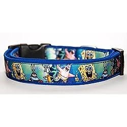 Bob Esponja SpongeBob Collar Perro Hecho a Mano Talla L con Correa a juego de 150 cm Dog Collar HandMade
