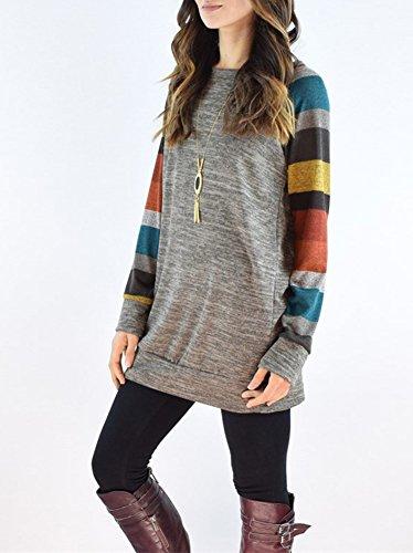 Donna Maglietta Moda T-shirt Stampa Geometrica Manica Lunga Allentata Casuale Camicetta Arancio Grigio
