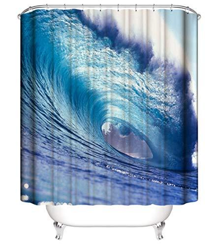 XIAOXINYUAN 3D HD Impresión Digital Engrosamiento Poliéster Océano Gran Ola Cortina De Ducha con Gancho Ecológico Impermeable Baño Baño Decoración del Hogar 180×200Cm