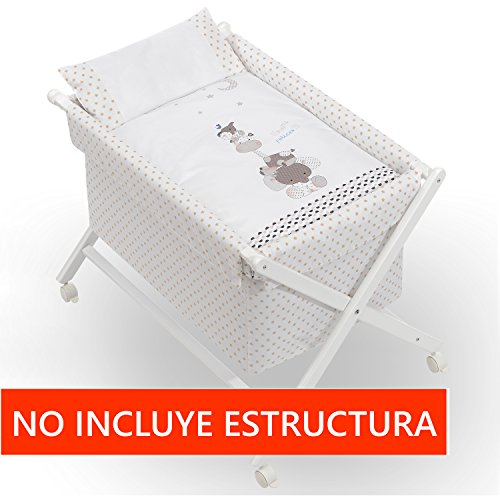 Vestidura Minicuna Tijeras mibebestore Blanco/Beige Papis (No Incluye Estructura)