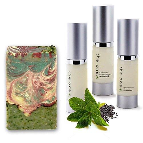Pour Soins de la peau Bio Trio & Savon Naturel Menthe & Graines de Chia Coffret cadeau.