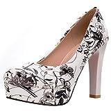Coolulu Mujer Zapatos de Tacón Alto Estampados de Flores Plataforma Punta Cerrada de Salon Slip-on Shoes 39,Negro